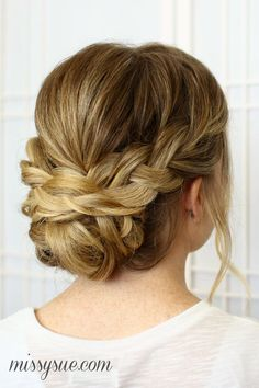 Wear your hair in a brilliant braided updo for your next big event. Choose a braided updo hairstyle from our list to make your style special. Bride Hairstyles, Pretty Hairstyles, Bridesmaid Hairstyles, Natural Hairstyles, Bridesmaid Hair Updo Braid, Prom Updo, Updos Hairstyle, Hairstyles Pictures, Makeup Hairstyle