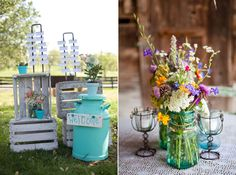 Mason jars with wild flowers