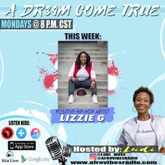 Tune into afrovibesradio.com at 8PM tonight to hear LIZZIE G share her story on entertainment, entrepreneurship and service with Ludi Muse.