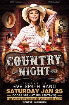 Country Night Flyer Template - http://ffflyer.com/country-night-flyer-template…