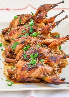 Asian Style Roasted Quail | Jo Cooks. Fine but not sure they're worth the hassle (to prepare or eat). Would serve the glaze on the side next time. Made the crispy skin soggy