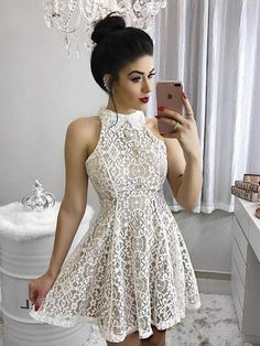 Chic Homecoming Dress Ivory High Neck Lace Short Prom Dress Party Dress JK070