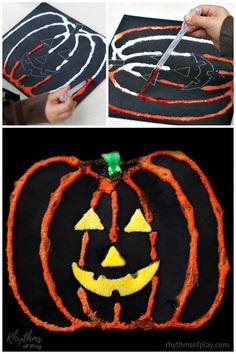 Halloween Kürbis Art Salt Painting - projects for vee and me! Halloween Art Projects, Preschool Art Projects, Easy Art Projects, Craft Activities For Kids, Crafts For Kids, Easy Painting For Kids, Art For Kids, Pumpkin Art, Pumpkin Crafts