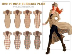 How to Draw Burberry Plaid: Step-by-Step Tutorial for Drawing Checked Patterns in Fashion | I Draw Fashion. (Direct link: http://www.idrawfashion.com/clothes/textiles/208-how-to-draw-burberry-plaid-pattern).