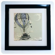 Steampunk Art Print -  7x7 Hot Air Balloon  - giclée  Fine Art PRINT -  grey blue pale green black dusty - Fairy Tale Art by the Filigree. $12.00, via Etsy.