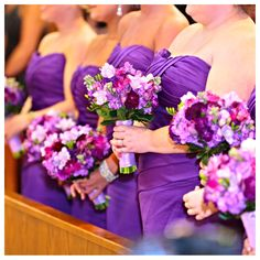 Purple bridesmaid bouquets ... For a Wedding Bouquet Guide ... https://itunes.apple.com/us/app/the-gold-wedding-planner/id498112599?ls=1=8  ... The Gold Wedding Planner iPhone App.