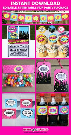 SUPERGIRL – PARTY PACKAGE  DIY Editable & Printable PDF    This is an INSTANT DOWNLOAD digital PDF file. You will be able to download the files