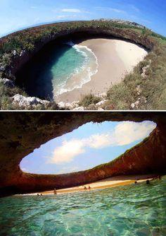 .Hidden Beach on Marieta Islands, off the coast of Puerto Vallarta, Mexico + Possibly a cenote