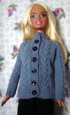 PDF Knitting Pattern for 11 1/2in Doll Cardigan free pattern