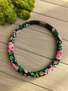 Black beaded necklace Floral necklace Seed beaded necklace Pink flower necklace Gift for mom Rope ne Floral Necklace, Seed Bead Necklace, Rope Necklace, Seed Beads, Beaded Earrings Native, Beaded Choker, Beaded Jewelry, Crochet Beaded Bracelets, Bead Crochet