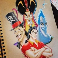 """Introducing, Men of Disney good/evil. Gaston, Dr Facilier, Hades and Jafar Disney Sketches, Disney Drawings, Cartoon Drawings, Disney Pop, Cute Disney, Pinturas Disney, Disney Artwork, Disney Colors, Gaston"