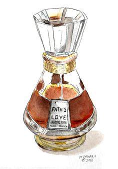 Watercolor tea towel of vintage perfume bottle by marleyungaro, $12.00