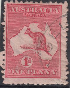 RARE-stamp-Australia-1d-red-Kangaroo-die-2A-variety-BIG-CRACK-in-state-1-popular