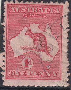 RARE-stamp-Australia-1d-red-Kangaroo-die-2A-variety-BIG-CRACK-in-state-1-popular