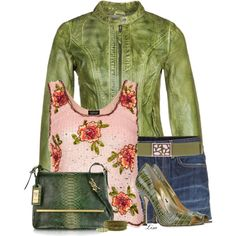 """""""Green Leather Jacket"""" by lmm2nd on Polyvore"""