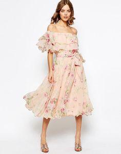 ASOS   ASOS Floral Bardot Off The Shoulder Midi Prom Dress With Multi Ruffle at ASOS
