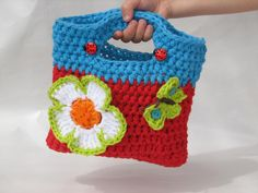 Girls Bag / Purse with Large Flower and Butterfly...... haha this is for my baby