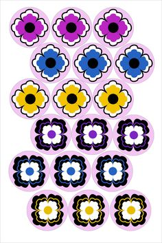 "Kimono Flowers Bottle cap image pack Formatted for printing on 4"" x 6"" photo paper"