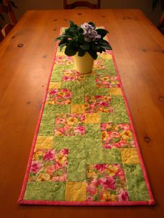 Floral Quilted Table Runner Spring Easter by PatchworkMountain, $38.00