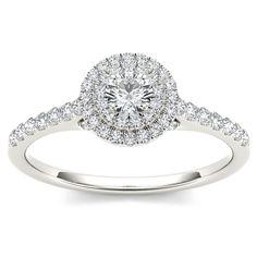 <li>1/2ct double halo diamond engagement ring</li><li>10k white gold jewelry</li><li><a href='http://www.overstock.com/downloads/pdf/2010_RingSizing.pdf'><span class='links'>Click here for ring sizing guide</span></a></li>