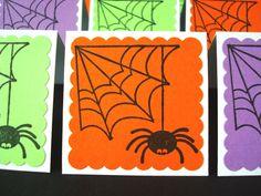mini cards halloween spiders