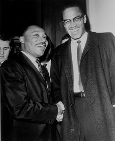King and Malcolm X shaking hands. Showing that people of different beliefs can still respect one another.