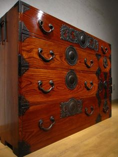 Tansu chest; notice the lovely wood grain!