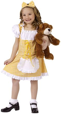 kids halloween costumes this girls goldilocks costume includes the yellow gingham dress with an attached white peasant top ruffled puff sleeves - Goldilocks Halloween Costumes