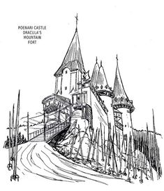 Drawing based on Poenari Castle Castle Sketch, Castle Drawing, Dracula Castle, Front Gates, Fantasy Drawings, Classic Monsters, Drawing Base, Medieval, Places To Visit