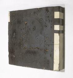 "Hiroyuki Hamada #6 1996 28 1/2"" x 30"" x4 3/4"" Materials: burlap, enamel, plaster, tar and wax"