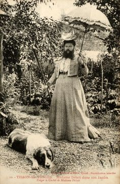 Bearded Lady Clementine Delait with dog. Um, that's totally a guy.