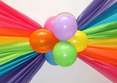 Rainbow balloon ceiling swag, made with plastic tablecloths