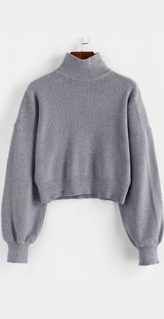 High Neck Drop Shoulder Plain Sweater Valerie Whitestone barkyparrky Love them Dropped shoulders bring laid-back ease and casual vibes to this plain knit sweater styled with polished high collar and elegant lantern sleeves. Mode Outfits, Fall Outfits, Fashion Outfits, Style Fashion, Pullover Mode, Ugly Sweater Party, Sweater Fashion, Knit Sweater Outfit, Gray Sweater