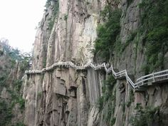 A Plank Road in Yellow Mountain - Huangshan Mountain Photos Yellow Things yellow mountain Shanghai, China Pics, Mountain Photos, Brooklyn Bridge, Pathways, National Geographic, Adventure Time, Grand Canyon, Travel Destinations