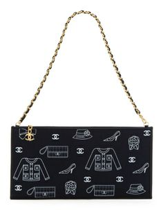 Black Printed Cotton Bag - Chanel