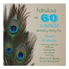 Shop Fabulous Peacock Birthday Party Invitation created by henishouseofpaper. Bridal Luncheon Invitations, 60th Birthday Party Invitations, Shower Invitations, Wedding Invitations, Surprise 30th Birthday, 30th Birthday Parties, Birthday Ideas, Carton Invitation, Fete Halloween