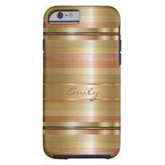 Metallic Gold And Copper Stripes Pattern Monogram Tough iPhone 6 Case