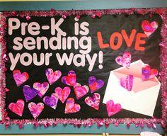 Pre-K Valentine's Day Bulletin Board idea. Sending LOVE your way. Tie-dye coffee filter hearts.