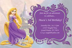 Tangled Rapunzel Invitation and Thank You Card by PickleInvites, $5.50