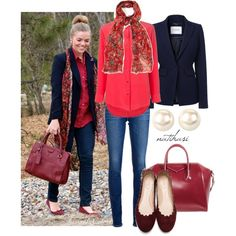 Pinterest Look: Red and Blue Outfit by natihasi on Polyvore featuring Equipment, L.K.Bennett, AG Adriano Goldschmied, Chloé, Givenchy, Nina and Monsoon