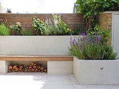 New sunken garden seating window ideas Small Courtyard Gardens, Back Gardens, Small Gardens, Outdoor Gardens, Back Garden Design, Modern Garden Design, Contemporary Garden, Modern Design, Garden Bed Layout