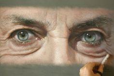 olhos pintura giz pastel arte
