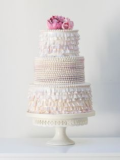 Pink ruffle wedding cake by Rosalind Miller Cakes ~ Beautifully Decorated and Delicious Award Winning Wedding Cakes