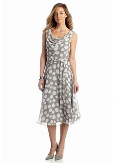 MSK Polka Dot Fit-and-Flare Dress
