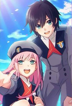 darling in the franxx zero two and hiro art Otaku Anime, Manga Anime, Anime Cosplay, Kawaii Anime, Querida No Franxx, Couple Manga, Tamako Love Story, Zero Two, Best Waifu