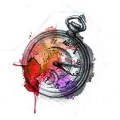 watercolour clock tattoo men - Google Search
