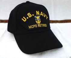 6c8c22d4557723 US NAVY MASTER CHIEF PETTY OFFICER MCPO RETIRED BLACK Military Vet Hat 85  RAEB