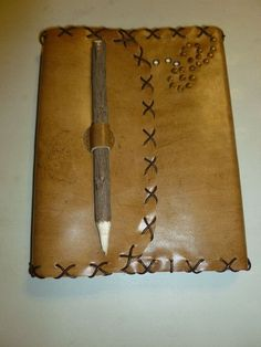 TAN LEATHER RUSTIC PIONEER STITCHED EYELET JOURNAL WITH RUSTIC PENCIL CLOSURE