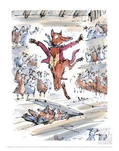 Limited edition Roald Dahl posters, prints and artwork featuring illustrations by Sir Quentin Blake. Buy from the home of Roald Dahl. Quentin Blake Illustrations, Roald Dahl Books, Drawn Art, Mr Fox, Children's Book Illustration, Book Illustrations, Illustration Animals, Fox Art, Canvas Prints
