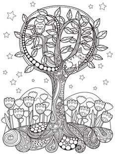 Gardens colorish: coloring book app for adults mandala relax Coloring Book App, Tree Coloring Page, Adult Coloring Book Pages, Animal Coloring Pages, Colouring Pages, Tangle Art, Printable Crafts, Mandala Art, Colorful Flowers